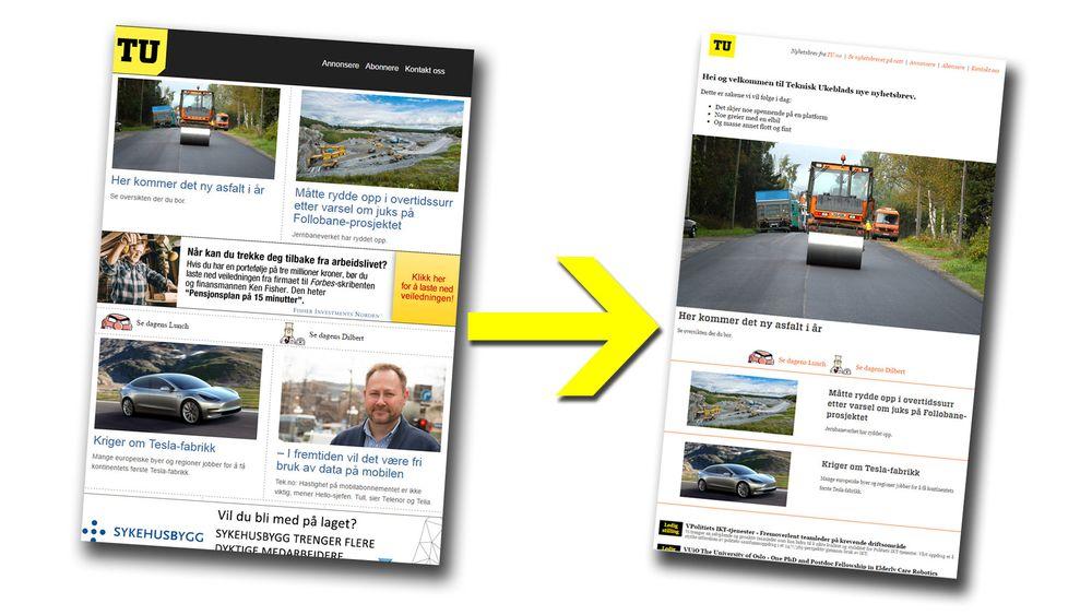tu.nos nyhetsbrev får nytt design, nytt utsendingstidspunkt og delvis nytt innhold.