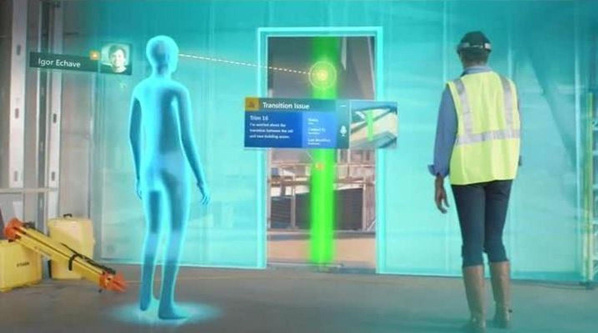 Ved hjelp av hologrammer kan bygglederen tas med på en rundtur i bygget uten å forlate sitt eget kontor.