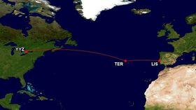 Flught 236 var på vei fra Toronto (YYZ) til Lisboa (LIS) og nødlandet på flybasen Lajes (TER).