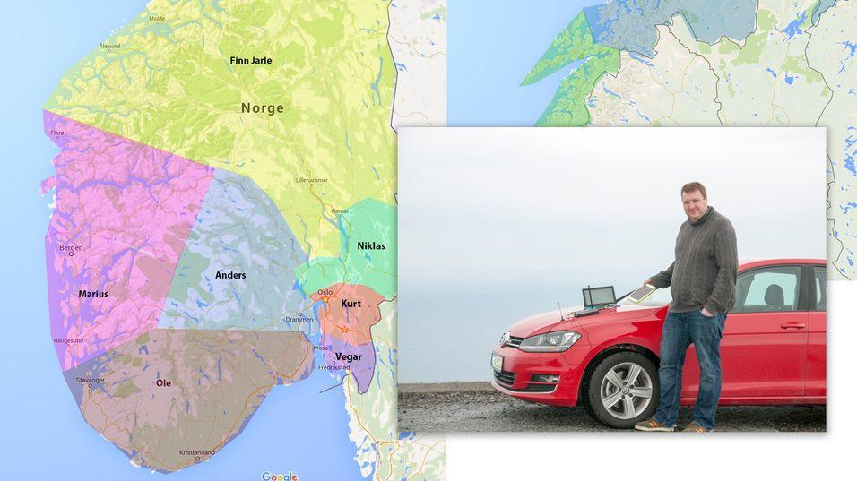 Finn Jarle Kvalheim er en av ni personer som skal kjøre Norge på kryss og tvers. Bildet er fra testen i 2014. Kartet viser en omtrentlig oversikt av områdene de ulike Tek-medarbeiderne skal dekke i år.
