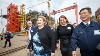 Dødsfallene fortsetter: Samme uke som Solberg besøkte verftet, omkom ytterligere tre arbeidere