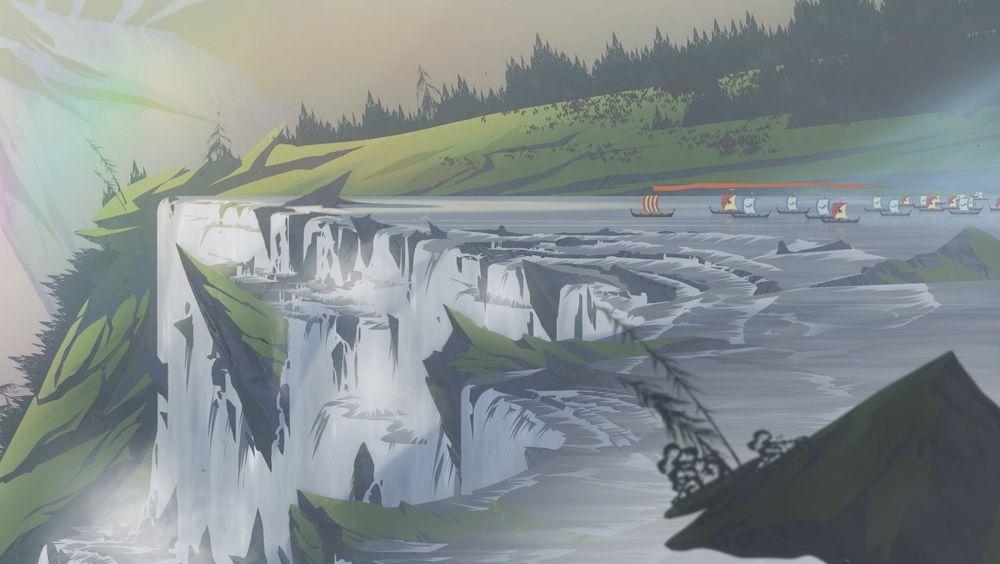 Omgivelsene i The Banner Saga 2 er praktfulle.