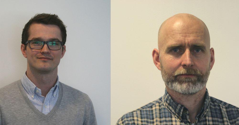 Fra venstre Ole Martin Bøe og Espen Karlstad, nyansatte i Omron.