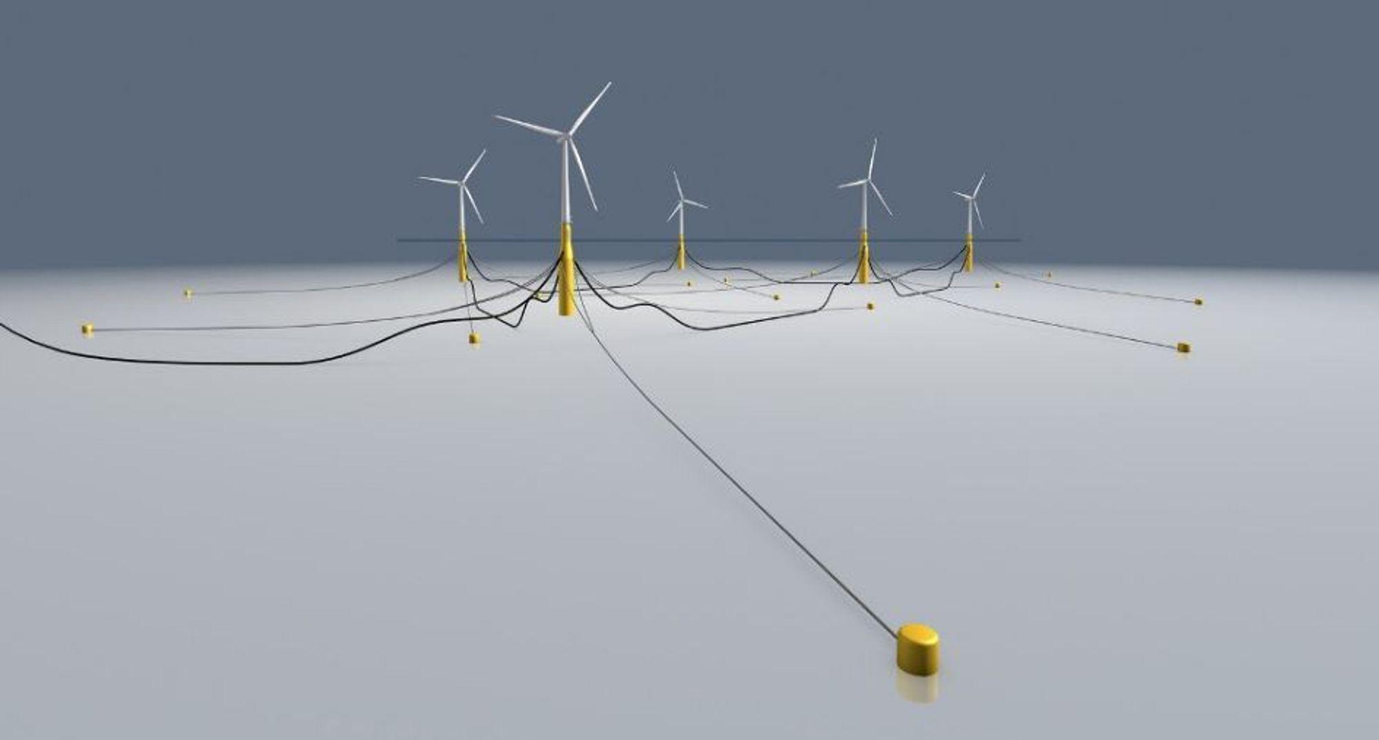 Her ser man hvordan sugeankrene og kjettingene skal holde de store flytende vindmøllene fast på havbunnen på 100 meters dyp.