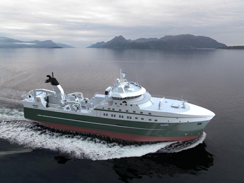 Enova gir 8 millioner kroner til rederiet Halstensen Granit for at de skal installere energisparende vinsj og gjenvinne spillvarme i produksjonen av fiskemel og -olje på sin nye fabrikktråler «Granit».