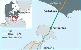 Forbindelsen skal gå mellom Rødbyhavn i Danmark og Puttgarden i Tyskland.