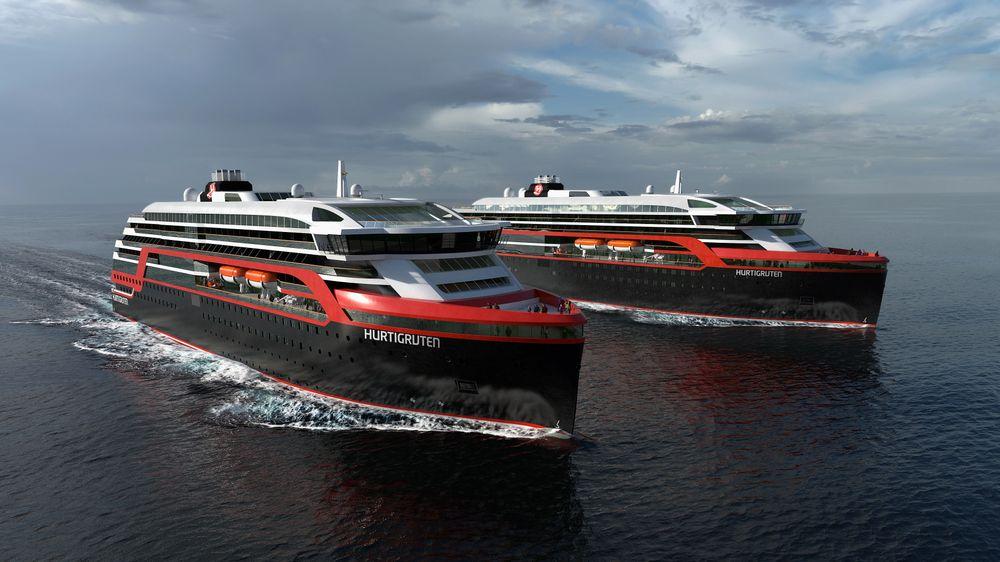 Illustrasjonsbilde av de nye Hurtigrute-skipene.