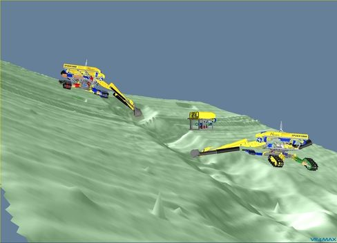 To «Spidere» jobber sammen på havbunnen, med hjelp av en 3D-modell tegnet av 350 sensorer på havbunnen. En ekstra ROV sveipet daglig over området med en sonar for å ytterligere forbedre bildet. Foto: Norsk Hydro.
