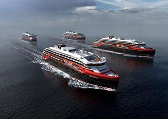 De to ekspedisjonsskipene til Hurtigruten har satt av plass til 5 MWh batterier for 3-4 timers elektrisk seilas.