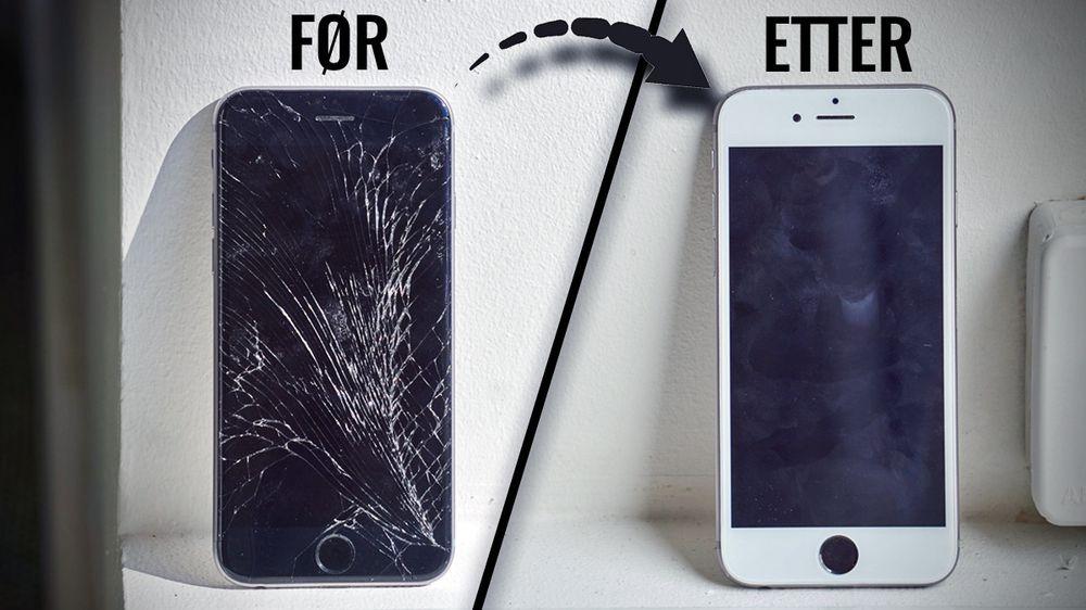 Vi tipper du har sett telefoner med tilsvarende skader som den til venstre. Heldigvis er det ikke så fryktelig vanskelig å bytte skjermdelen – ihvertfall ikke på iPhone 6.