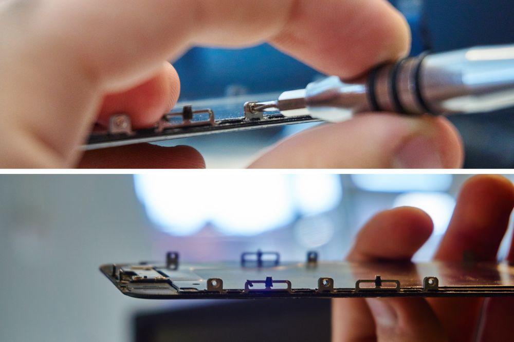16. Skru ut skruene som holder LCD-bakdekselet fast (tre på hver side, én på toppen.