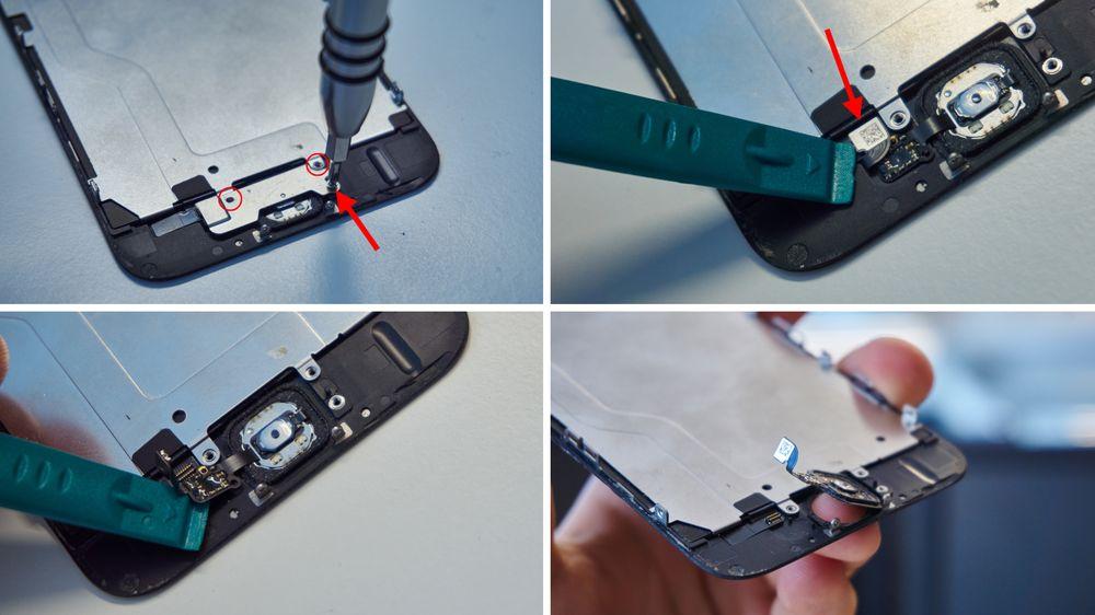 12. Skru ut skruene som holder metallbraketten over hjemknappen fast 13. Flikk opp kontakten til hjemknappen 14. Før et plastverktøy under kabelen, og skjær den forsiktig løs 15. Dytt hjemknappen sakte ut av glasset fra fremsiden.