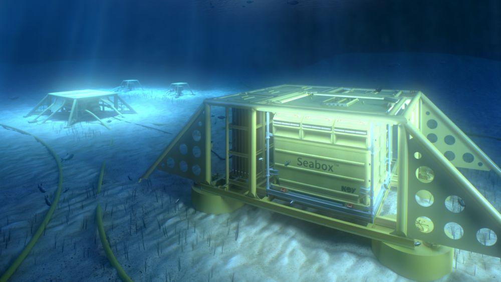 På havbunnen: Illustrasjonen viser hvordan renseanlegget vil se ut på sjøbunnen. En prototyp skal nå bygges - mest sannsynlig ved Harstad Mekaniske Verksted.