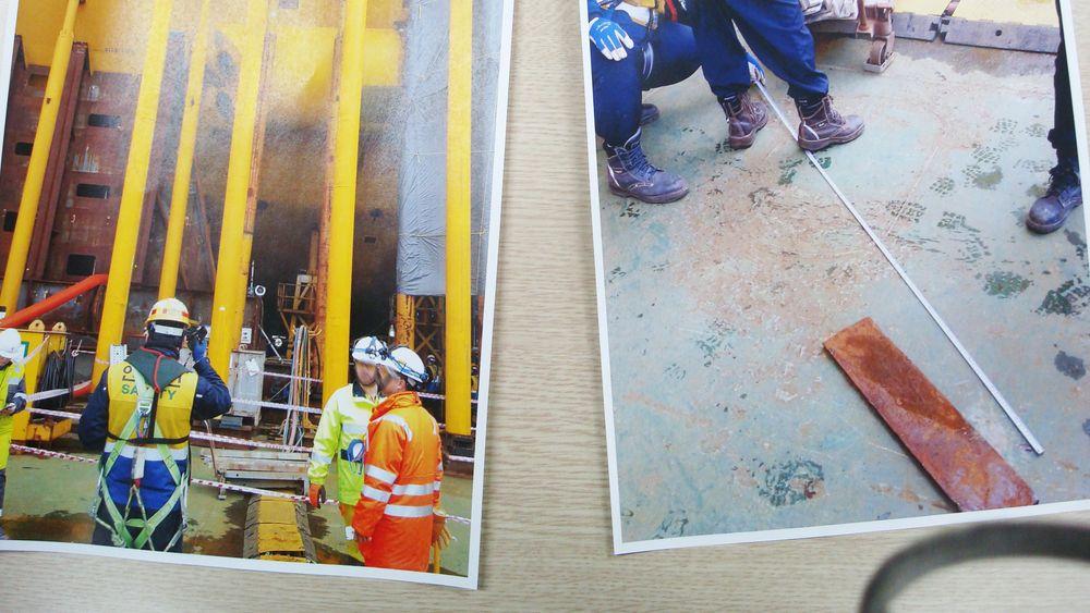 Ulykken på Aasta Hansteen skjedde på formiddagen 10. mars. Det er sparkeplaten på bildet til høyre som traff kvinnen i leggen, ifølge fagforeningen ISWU.