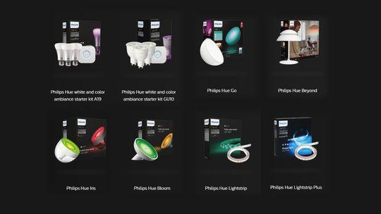 Dette er bare noen av lampene i Hue-systemet. Vi kommer itl å referere til dem under fellesbetegnelsen «Hue-lysene».