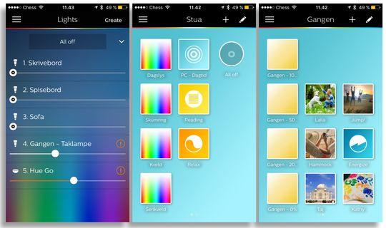 Til venstre: Slik så lysstyringen ut i den gamle appen. I midten og til høyre: Sceneoversikten hadde flere vinduer vi kunne gi navn, for eksmepel etter rom, men det var ikke en særligfleksibel løsning.