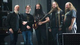 Jory Prum (t.h.) i februar sammen med medlemmer fra Dream Theater og Fredrik Sundt Breienfra Turbo Tape Games.