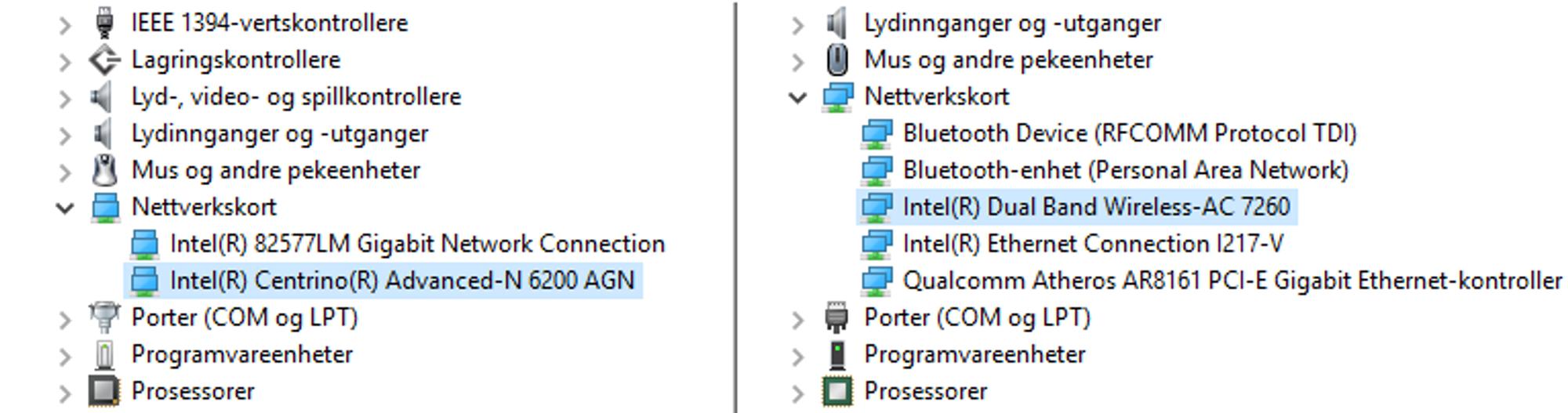 Under enhetsbehandling listes nettverkskortet opp. Til venstre ser vi Intel 6200 med N-støtte, i listen til høyre finner vi 7260 med AC-støtte.