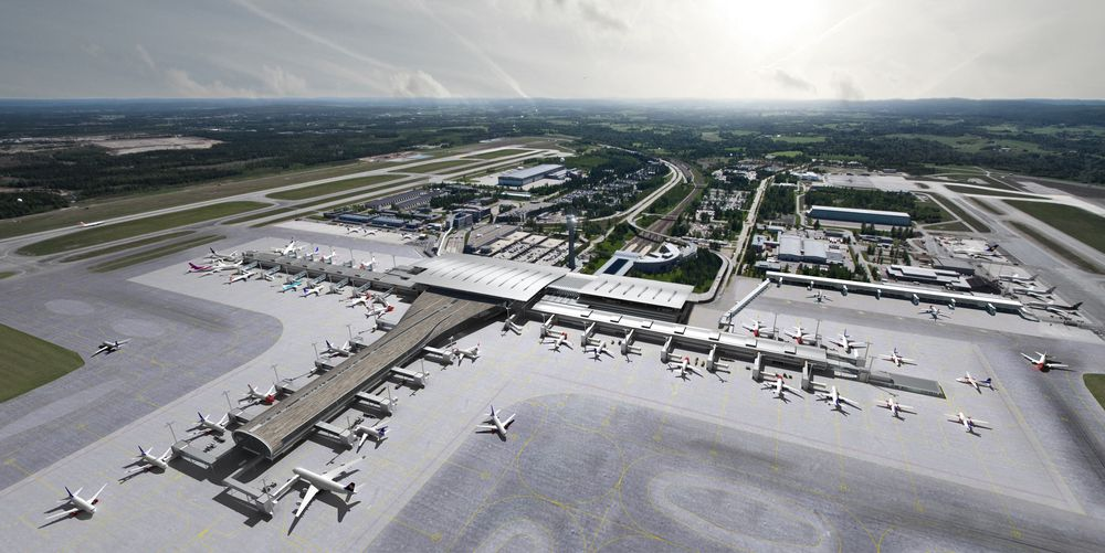 Oslo Lufthavn slik den er planlagt å se ut når den er i drift fra 2017.