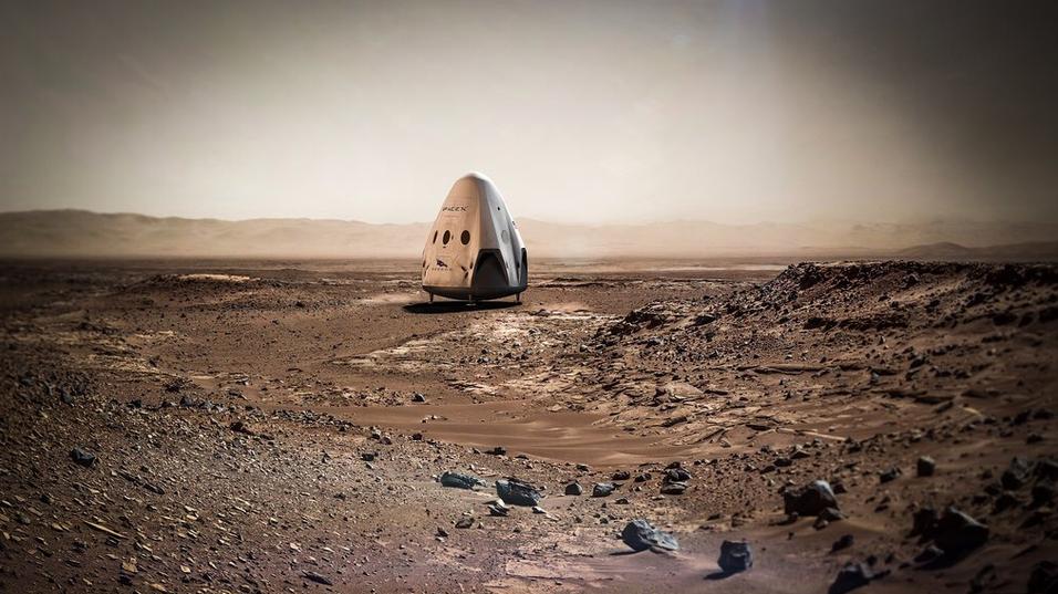 Illustrasjonsbilde av SpaceX' Dragon-kapsel på Mars.