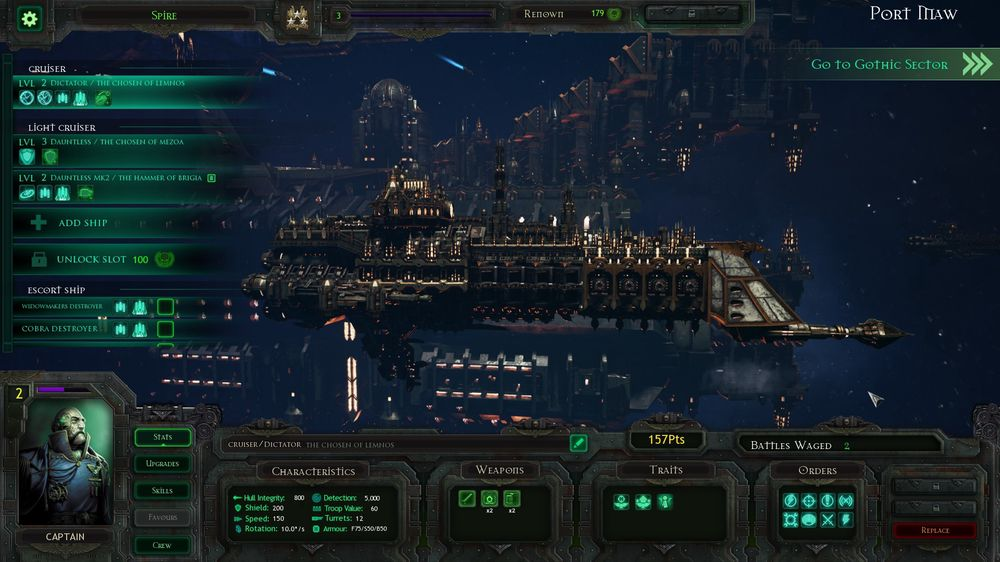 I Port Maw kan du oppgradere skipene.