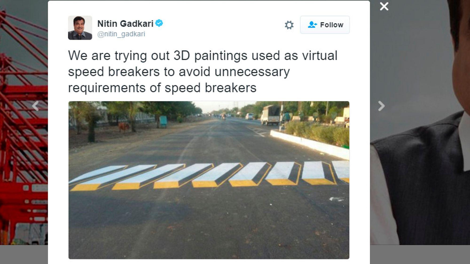 Dropper fartshumper - bruker maling for å lure bilister til å kjøre saktere