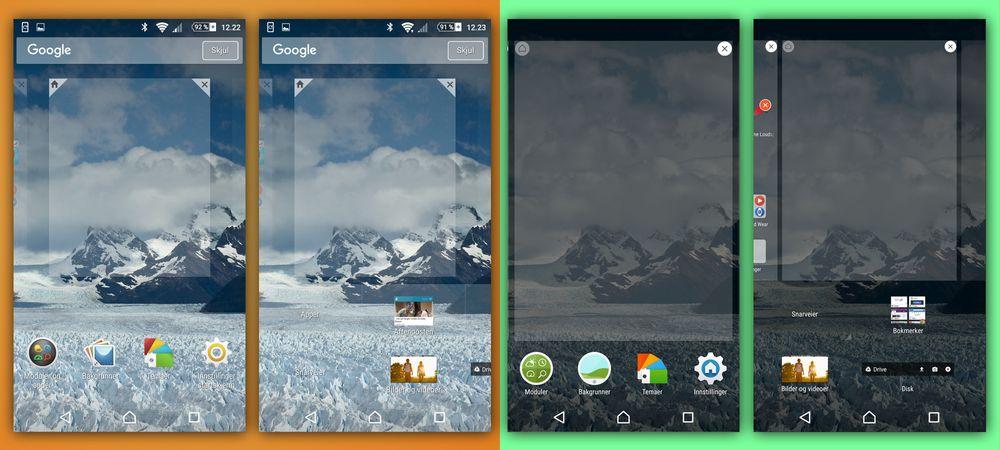 Når du holder på et tomt område på skjermen vil du få mulighet til å tilpasse innholdet. Nå er utseendet på disse valgene kraftig frisket opp, og layouten endret.