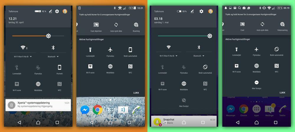 Nedtrekksmenyen har fått nye farger og et litt annerledes layout. Det er mer plass mellom ikonene, og et «ikke forstyrr»-ikon har kommet til.