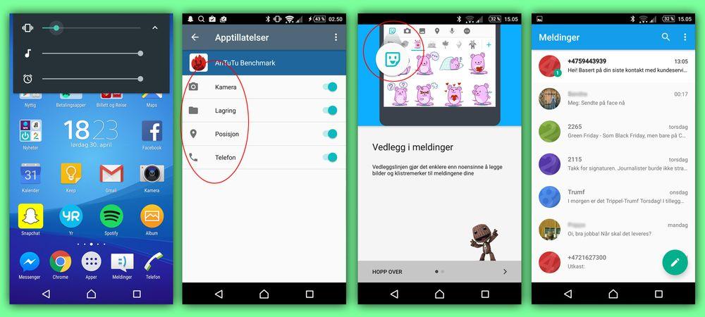 1. Lydkontrollen er nå litt annerledes og redesignet. 2. I Marshmallow velger du tillatelser individuelt for hver enkelt app. 3. Nå kan du sende søte små vedlegg i meldingene dine. 4. Meldingsappen er redesignet.