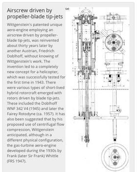 Filosofen Wittgenstein fikk en teknisk utdannelse. Han studerte flyteknikk ved Universitetet i Manchester. Han utviklet der et patent for en fullstendig ny måte å tenke helikopter rotor på. Denne gjennomgikk også en vellykket testing i 1943. Foto tatt av Harald N. Røstvik. Det viser Wittgensteins originaltegning og en tekst som finnes på University of Manchester.
