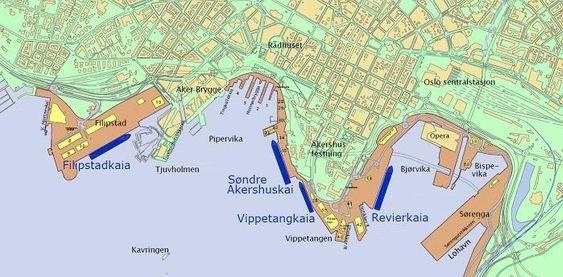 Cruisekaiene i Oslo.