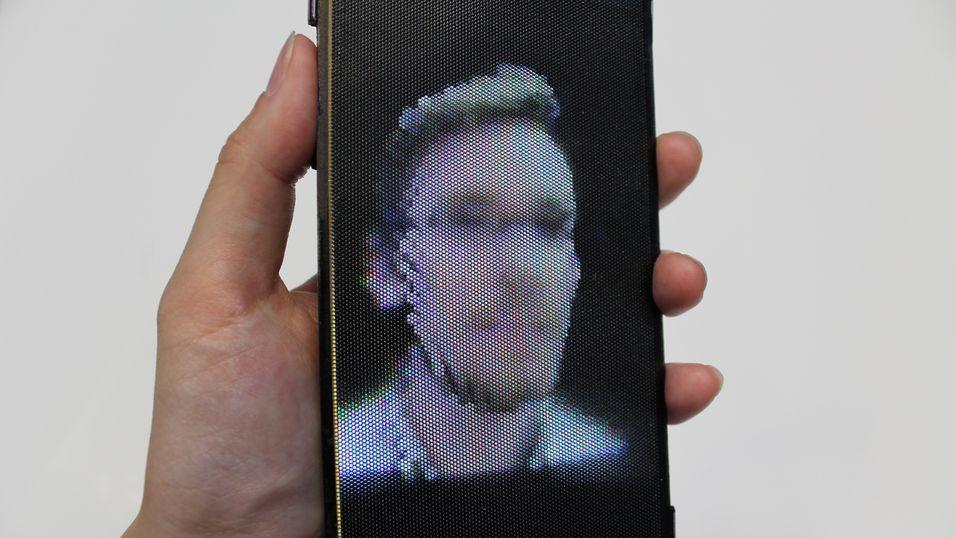 Mobilskjermen viser brillefrie 3D-bilder som kan ses fra flere ulike vinkler.