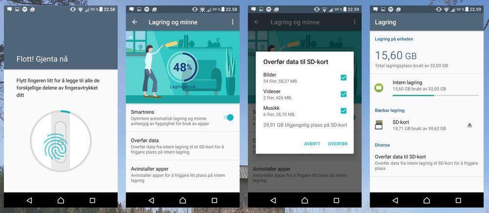 Heller ikke Sony Xperia X kan formatere minnekort som en del av intern lagring. Dette gjelder så langt de fleste Android 6-enhetene. En god fingerleser tar seg av sikkerheten.