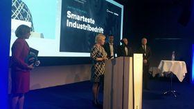 Finansminister Siv Jensen overrakte prisen på Industrikonferansen mandag.