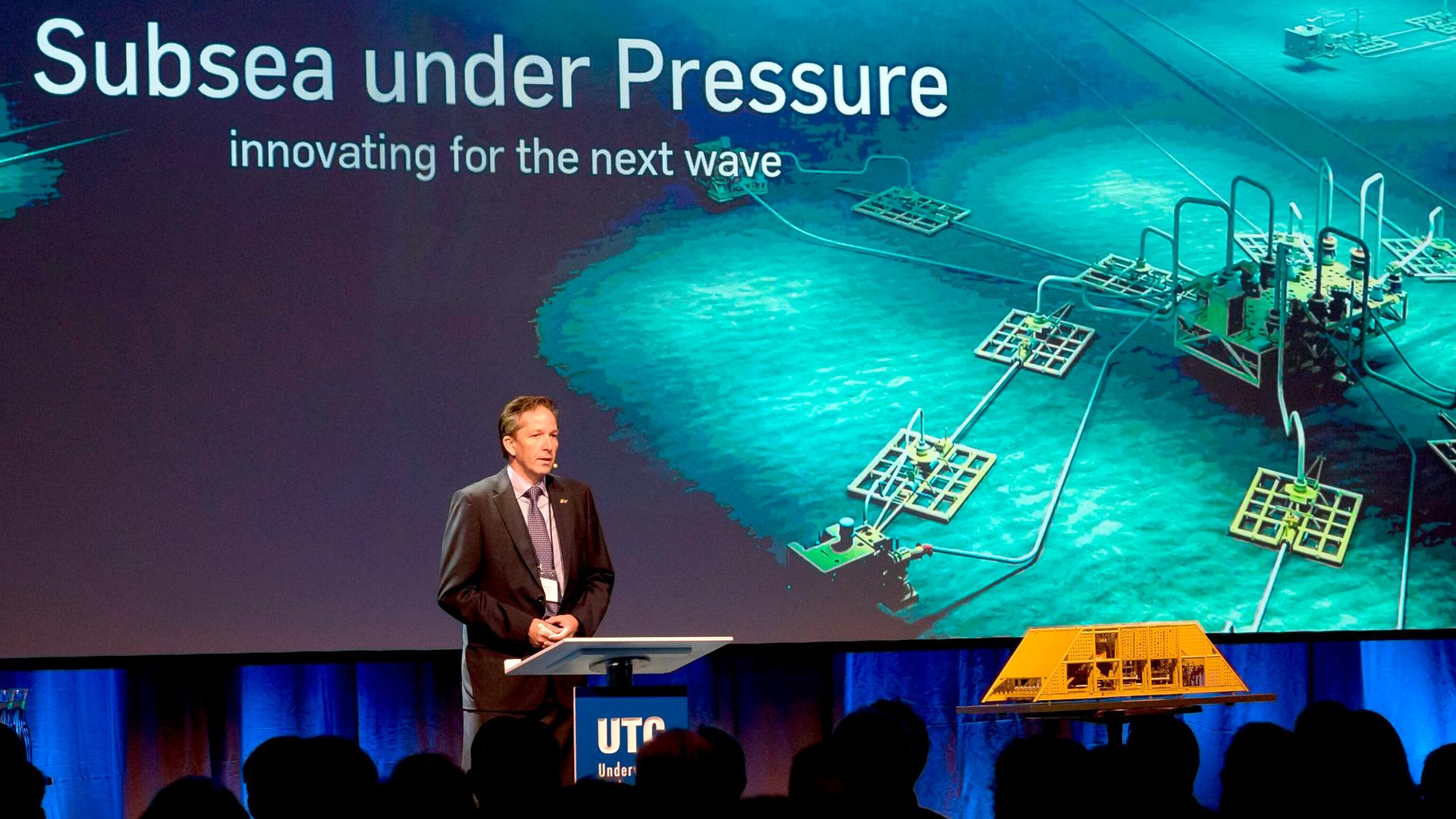 Må slankes: Subseaverden er under hardt press fra lave oljepriser, det var merkbart også på UTC-konferansen i 2015. Foto: UTC
