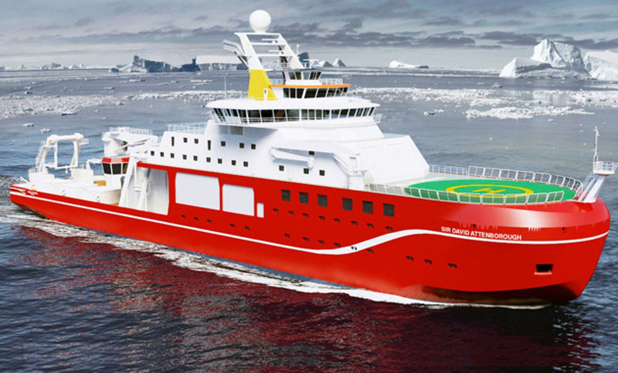 """Polarforskningsskipet får ikke det folkelige navnet Boaty McBoatface, som """"folket"""" via sosiale medier har stemt fram. I stedet hedres den nå 90 år gamle BBC-journalisten Sir David Attenbororugh ved å døpe skipet med hans navn."""