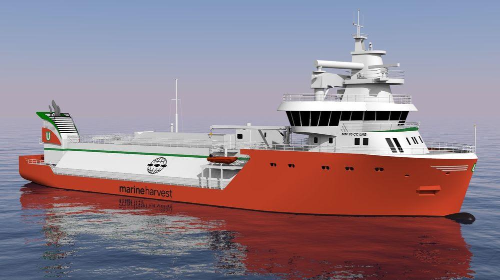 Havbruksbåt utviklet av Multi maritime for Maren Harvest. Skipet har LNG-motor og batteri.