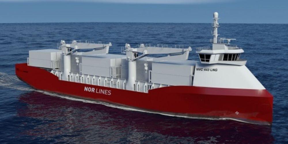 Godsskip med LNG-motor og plug-in hybrid framdrift. Vil kreve landstrøm/ladestrømkobling i havner.