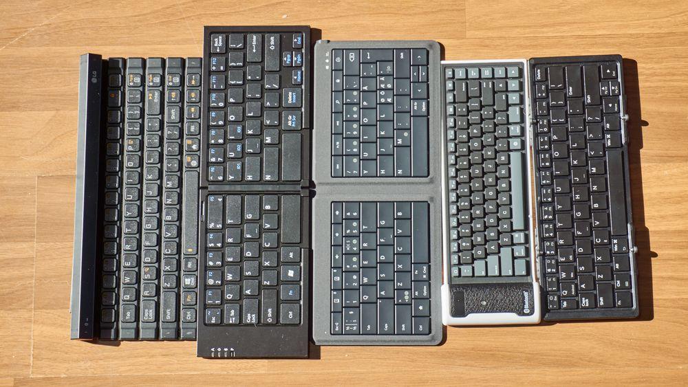 De fem tastaturene er nokså forskjellige størrelsesmessig.