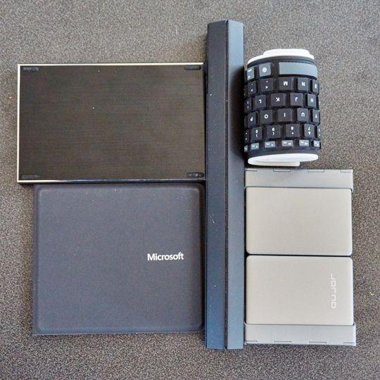 Slik ser de fem tastaturene ut i komprimert form.