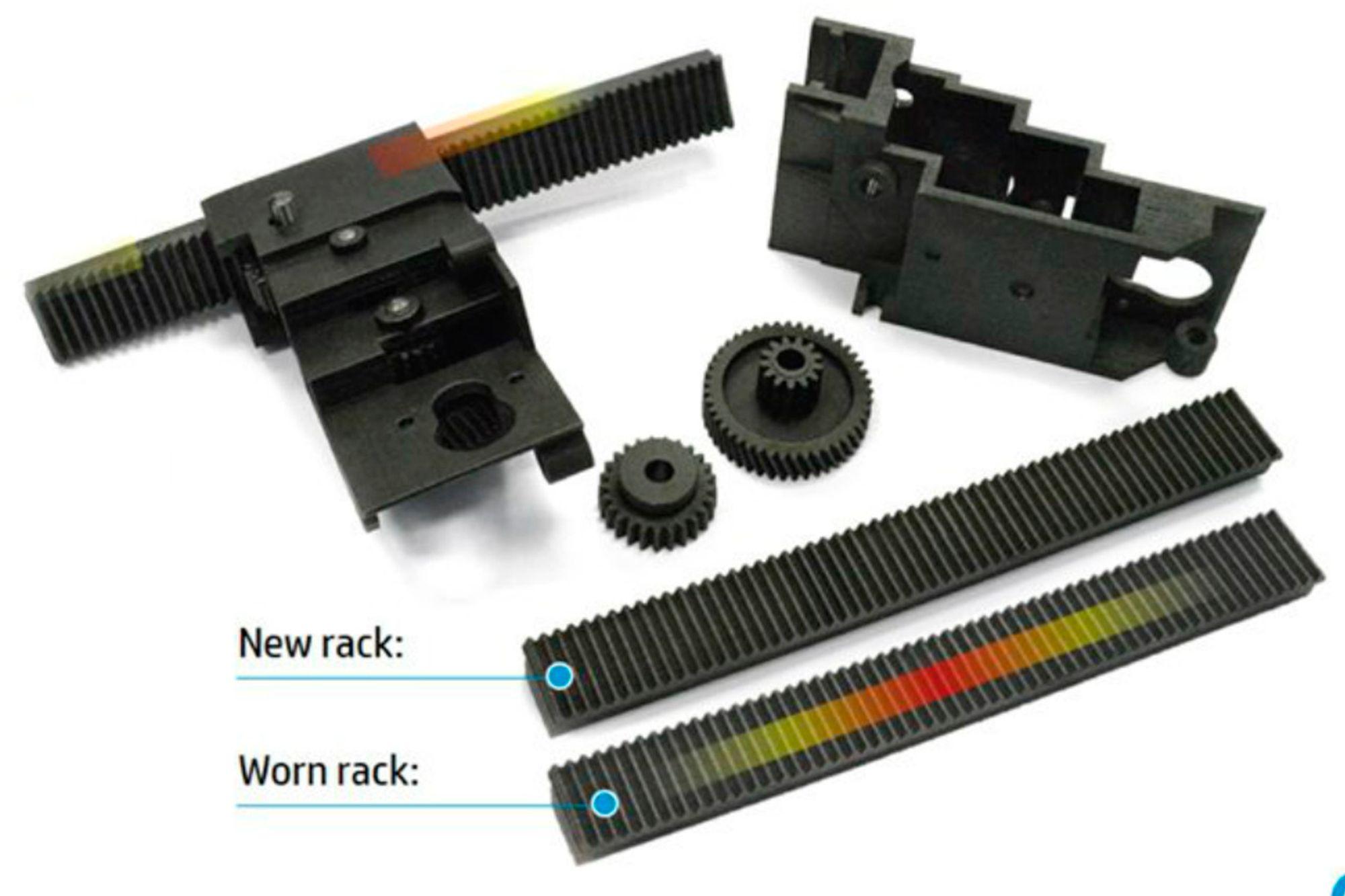 Slitasjevarsel: Ved å printe farge inn i produkter slik som en tannstang kan man tydelig se når det øverste laget er slitt bort.