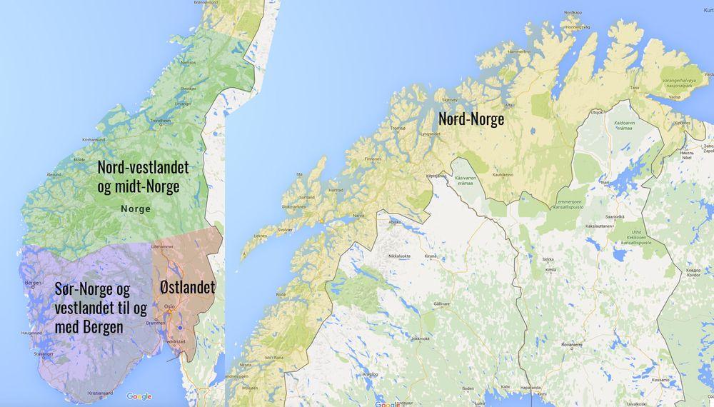 Vi delte inn Norge i fire områder og sendte ni journalister og frilansere ut på veien. Klikk på det aktuelle området for å lese resultatene for området.