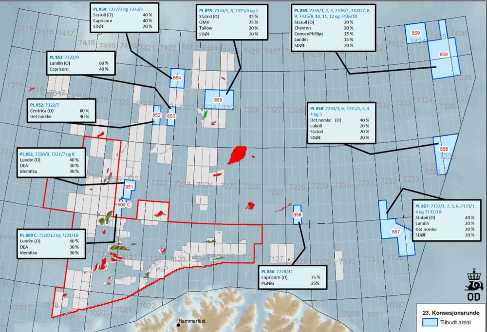 23. konsesjonsrunde førte til at 13 oljeselskaper fikk tilgang på nytt areal i Barentshavet. Nå vil regjeringen åpne flere områder for oljeleting, deriblant i Barentshavet.