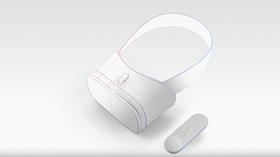 Referansedesignet til de nye VR-brillene og håndkontrollen som inngår i Daydream-plattformen.