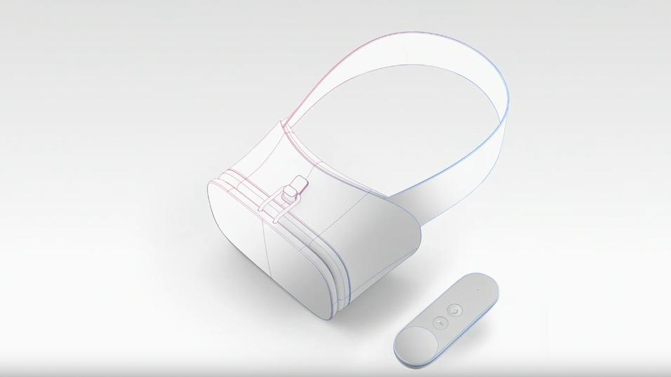 Referansedesignet til de nye VR-brillene og håndkontrollen.