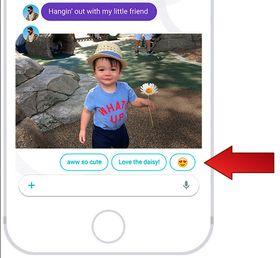 Når kompisen din sender et søtt bilde av barnet sitt, kommer det opp forslag til hva du kan svare.