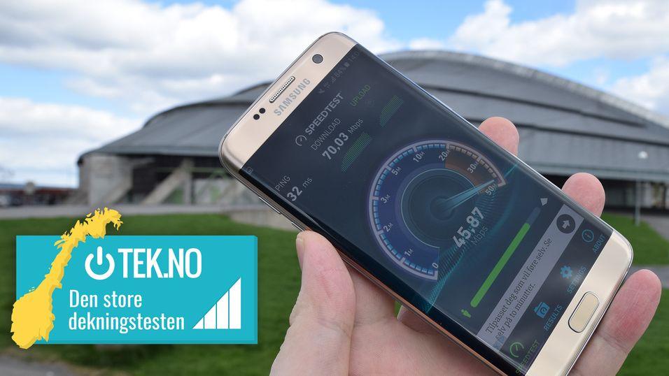 Tek.no har i samarbeid med Inside Telecom testet mobildekningen i hele Norge. Her fra testen ved vikingskipet på Hamar.