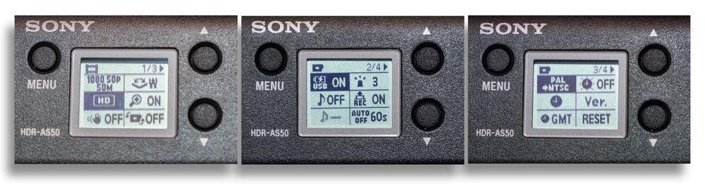 Noen av valgene er for så vidt oversiktlige nok, som de i bildet helt til venstre, men på andre treffer Sony langt fra like godt. Som den helt til høyre: Betyr den at kameraet står i NTSC? Eller at den lar oss skifte til NTSC?