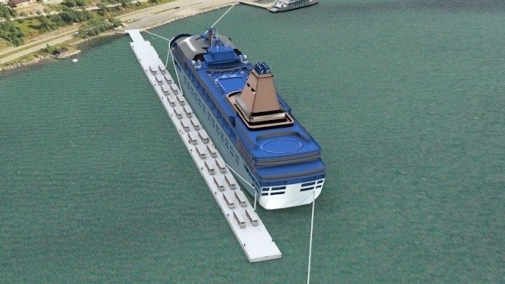 Selskapet Fjordpontoon utvikler flytende kailøsninger i stål med innlagt levering av strøm og vann samt kloakk- og spillvannhåndtering fra skip.