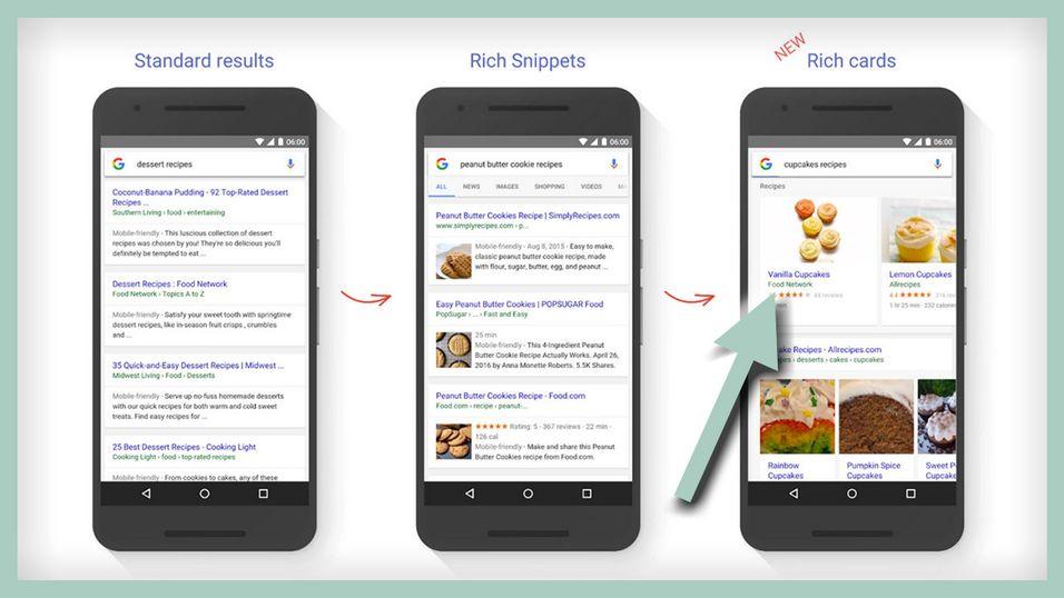 Googles nye søketreff helt til høyre.